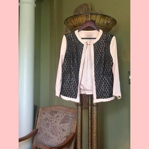 Gibson Latimer lace overlay jacket size L pink